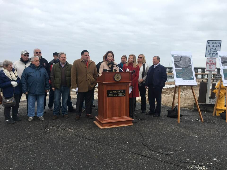 Hempstead Town Supervisor Laura Gillen, left, was joined by Councilwoman Erin King Sweeney, Department of Conservation and Waterways Commissioner Tom Doheny and Councilman Anthony D'Esposito on Jan. 11 to announce plans to call on the state to expedite permits to dredge Point Lookout waters.