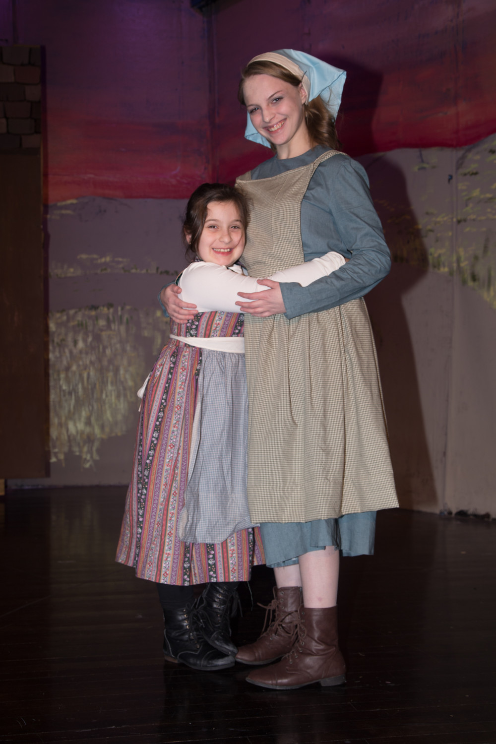 "Sophie Luce, 8, left, and Jordan Coene, 16, play sisters Bielke and Hodel in the musical based on Sholom Aleichem's ""Tevye and his Daughters."""
