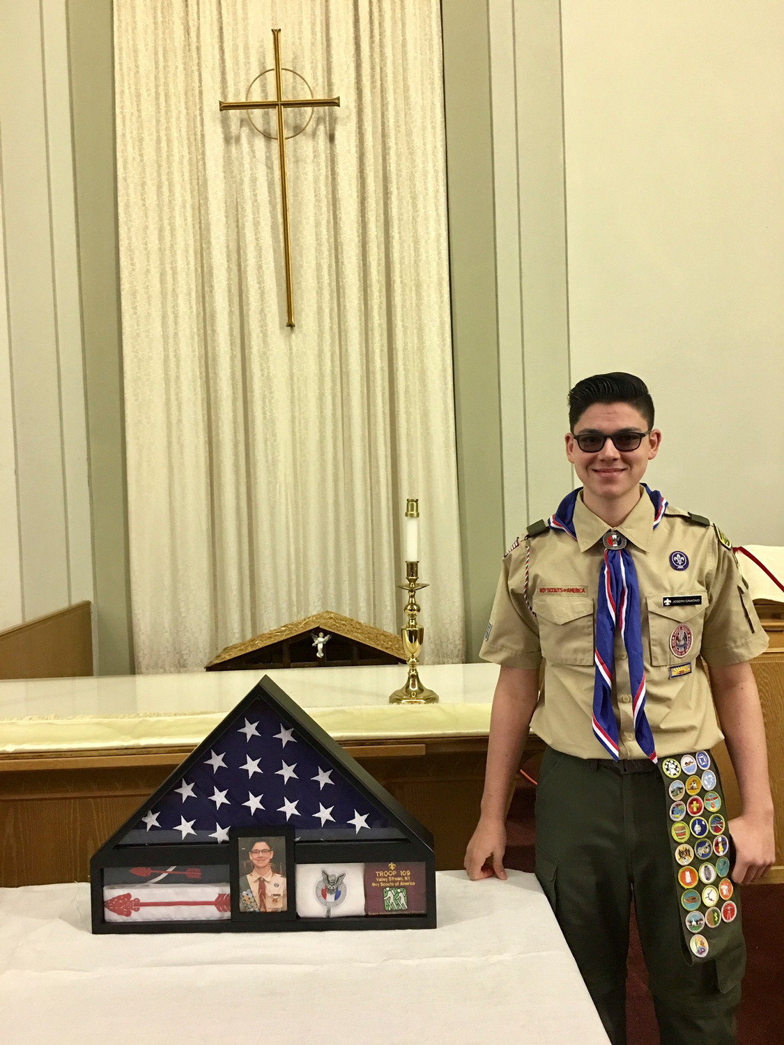 Joseph Cavataio, of Hewlett, earned the rank of Eagle Scout, 