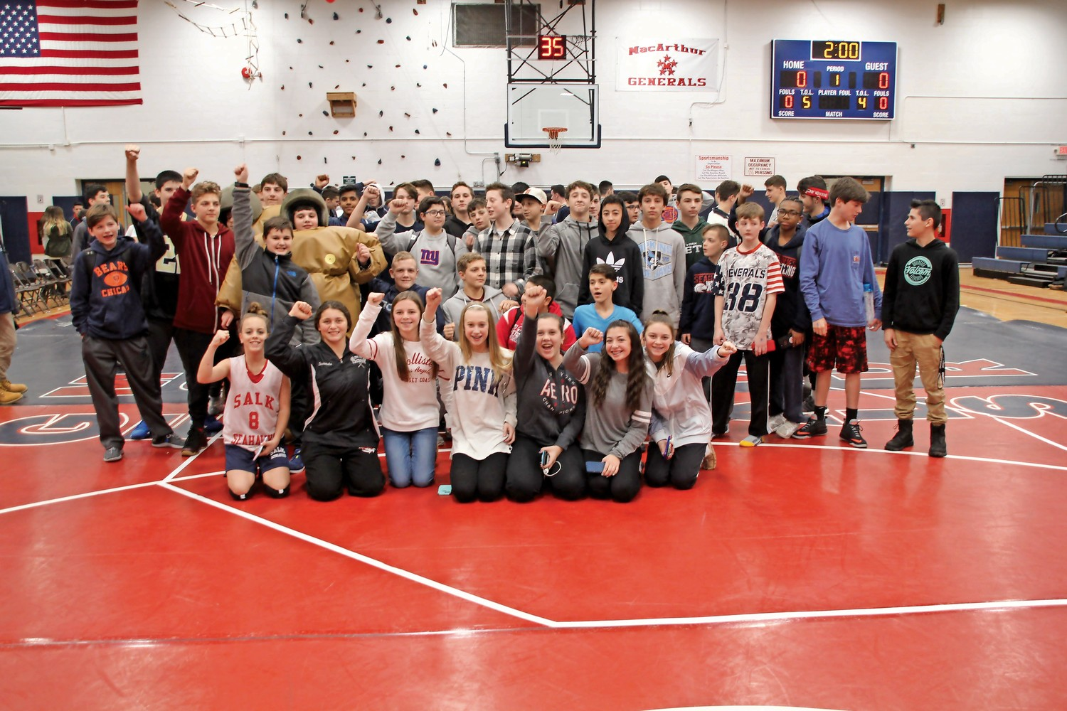 Students from MacArthur High School and Jonas E. Salk Middle School attended the third annual sumo-wresting competition, on Jan. 11 to show support for a local community member.