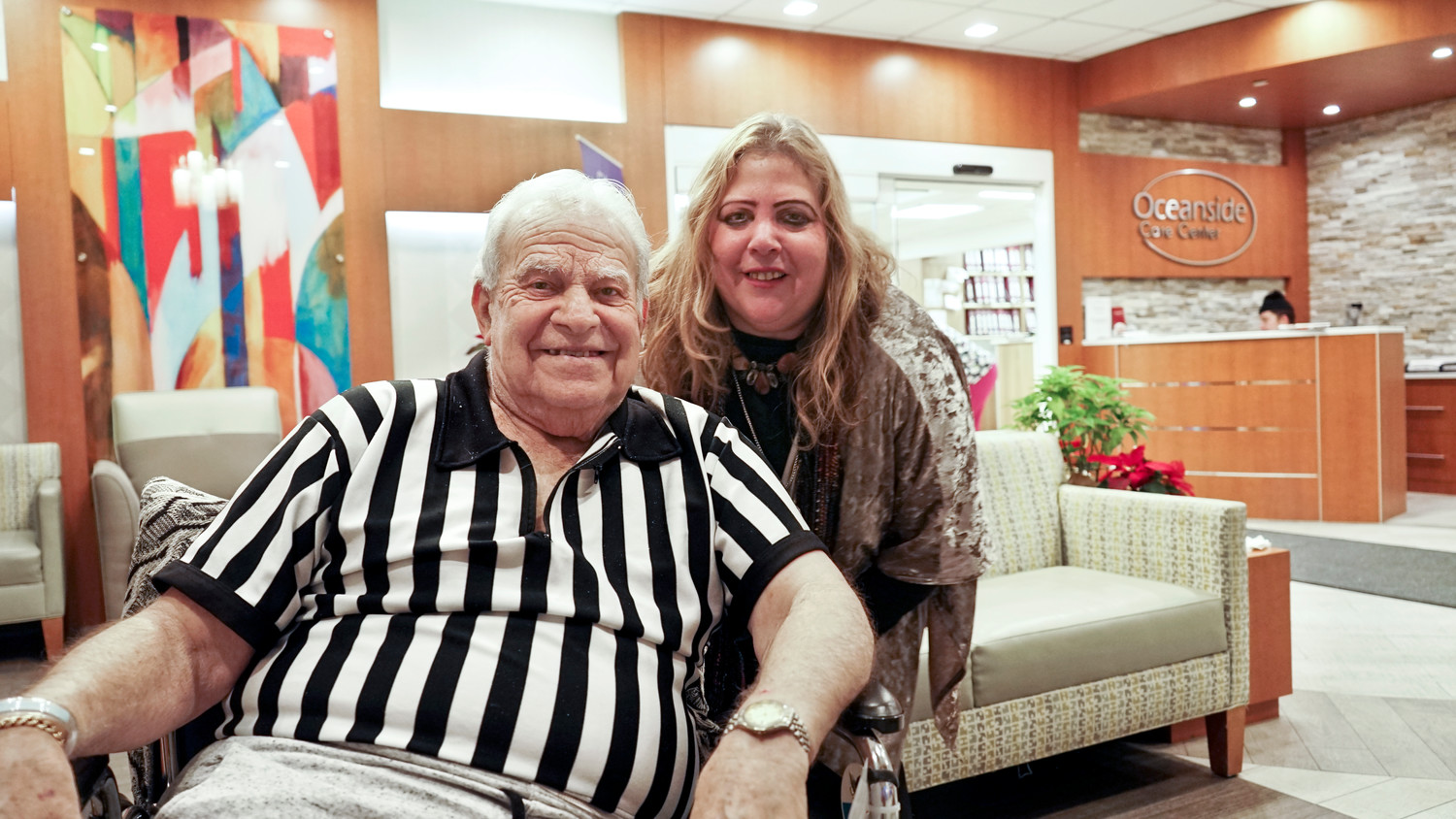"Oceanside residents Emanuel ""Manny Sokal"" Sokolofsky and his daughter Debbie. For nearly 50 years, Sokolofsky was a professional basketball referee, including 13 years in the NBA. Now, after a lifetime of basketball, he has settled in Oceanside, where ""I'm here to stay,"" he said."