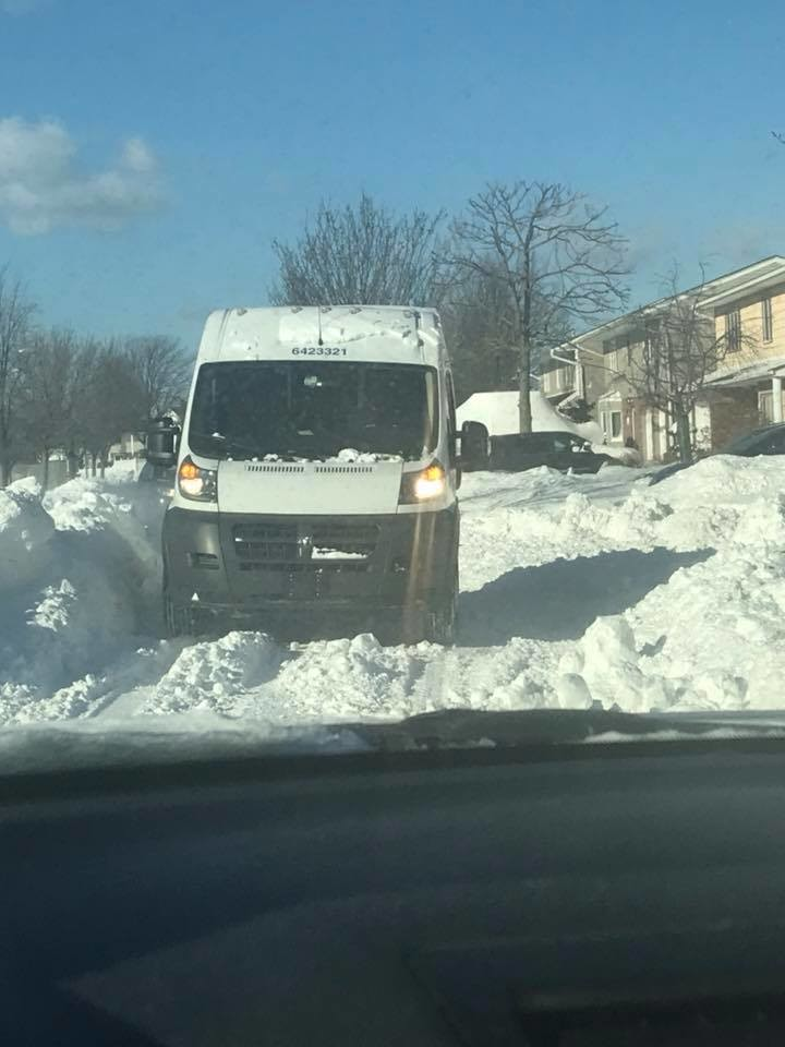 A One-lane clearing at Mahlon Brower Drive led to a standoff between a driver and a postal carrier the day after the storm.