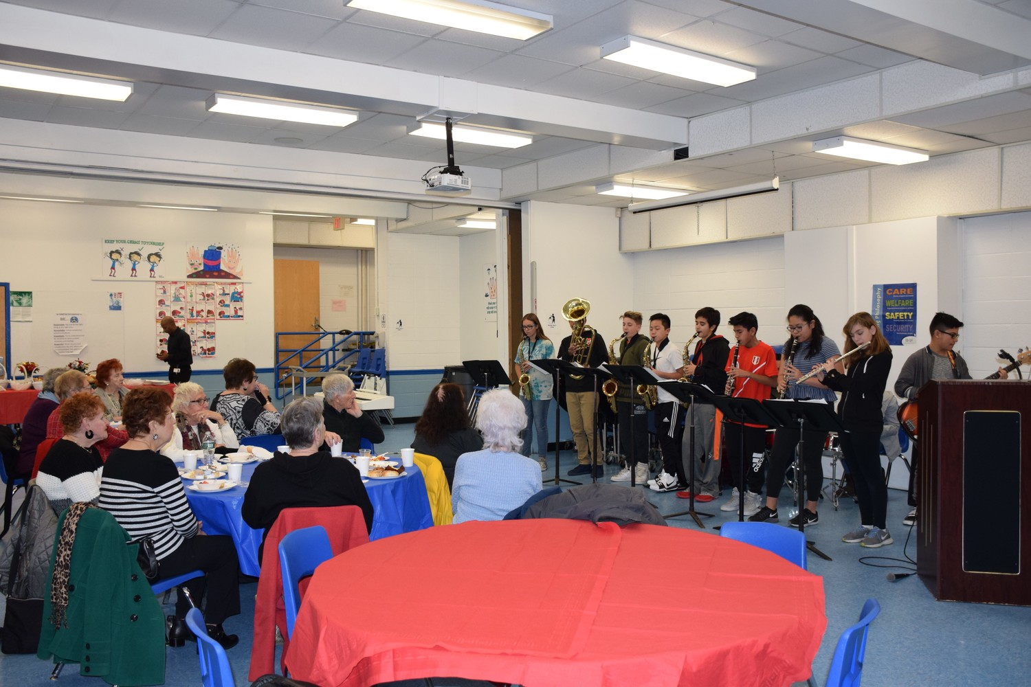Students from Lincoln Orens Middle School presented songs to local senior citizens who had come to visit the school last month.