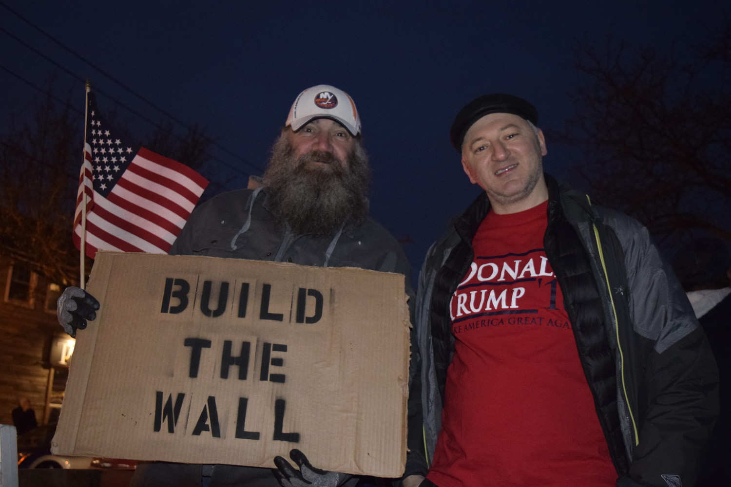 Trump supporters at a counter-protest outside Congressman Peter King's office last January.