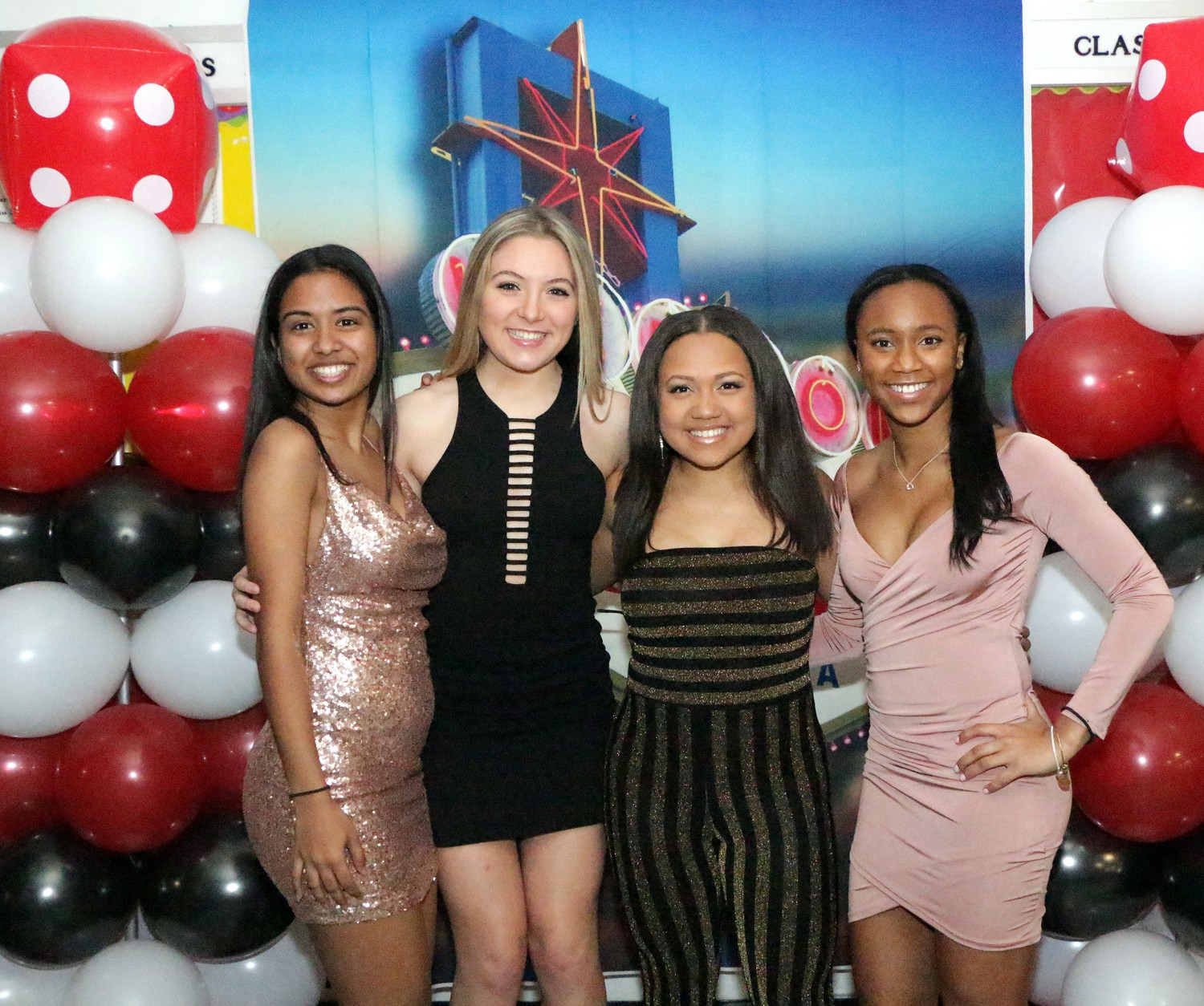 Lauren Lee, Emily Metzguer-Shires, Geresis McLaren, Melissa Francois - Baldwin Seniors sparkle and shine at the Senior Banquet.