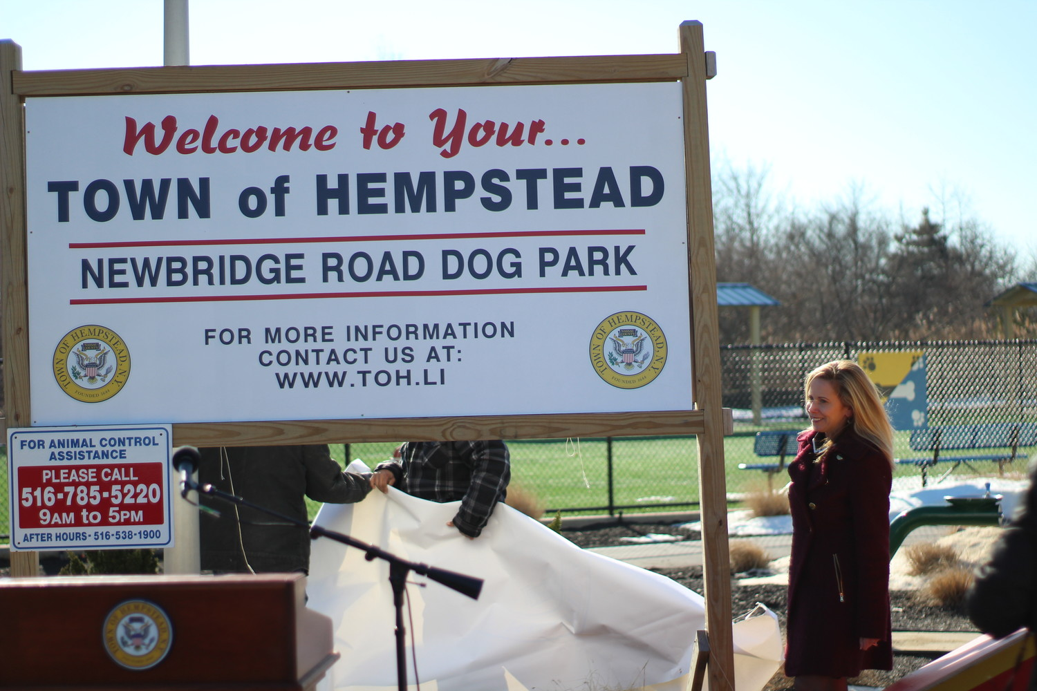Town of Hempstead Supervisor Laura Gillen revealed what the new signage will look like across all of Hempstead's 107 developed parks.