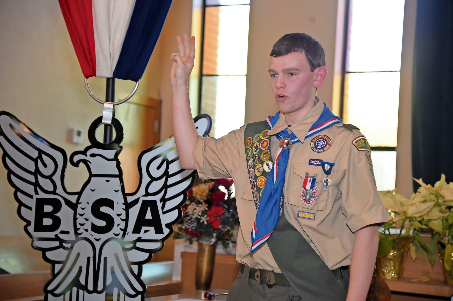 Parola recited the Eagle Scout oath.