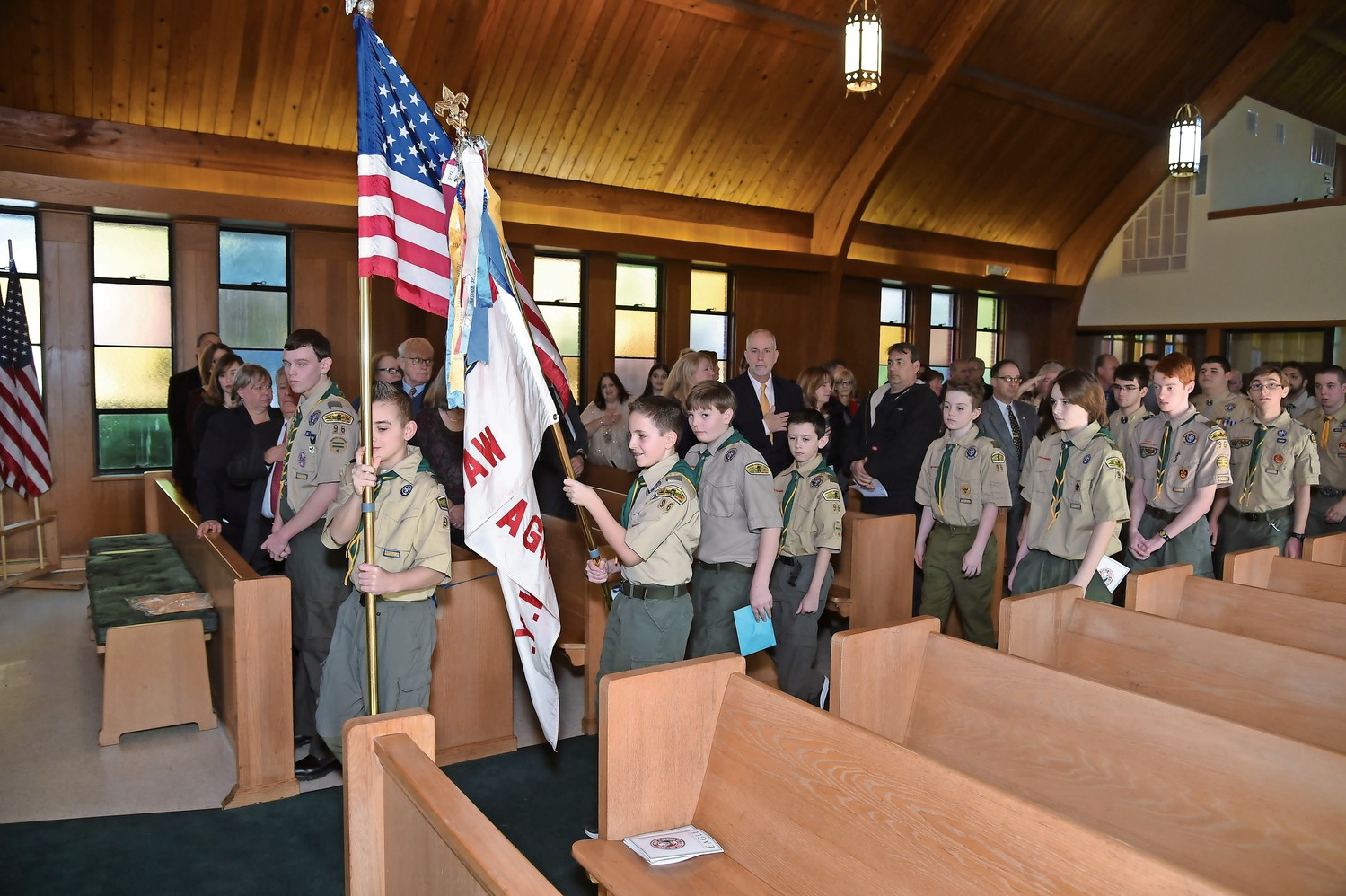 Wantagh Boy Scout Troop 96's color guard kicked off the ceremony at the Wantagh Memorial Congregational Church.