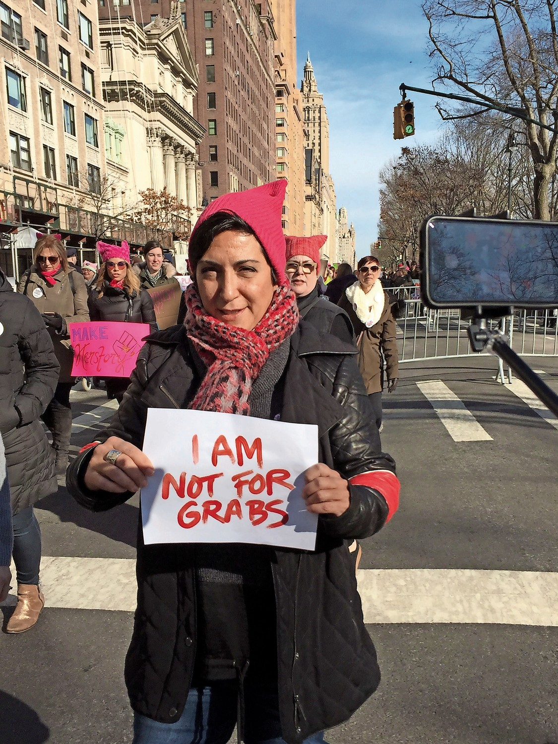 Maria Casini, of Malverne, was among the participants in the Women's March.