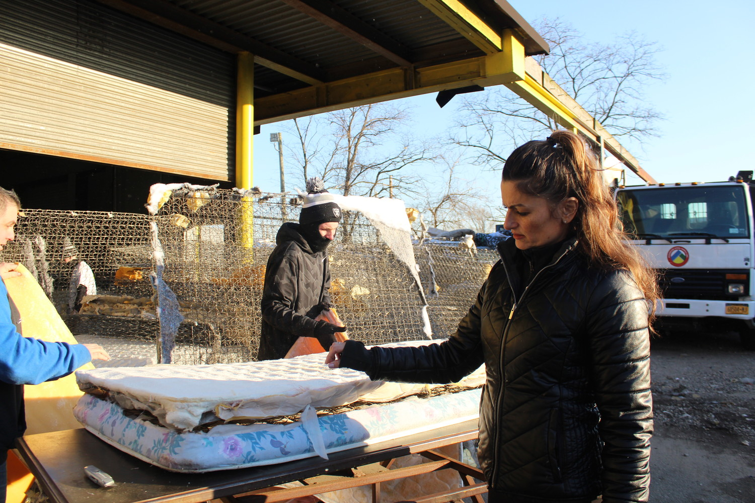mattress recycling. Christine Kiourtsis, Right, Examined The Parts Of A Twin-sized Mattress While East Recycling R