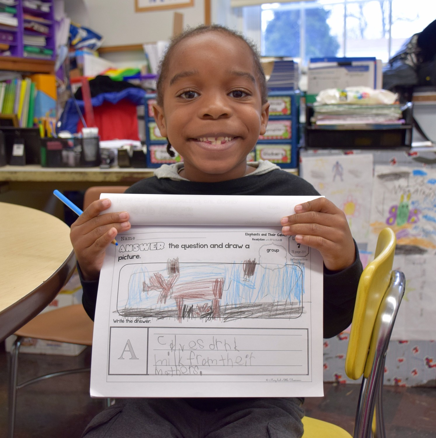 rst-grader Nisovi David showed off the 