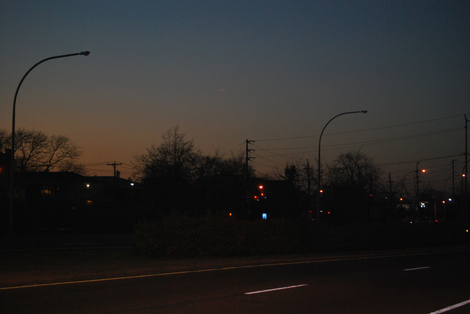 Streetlights remain out on the west side of the Nassau Expressway between Central Avenue and Broadway in Lawrence.
