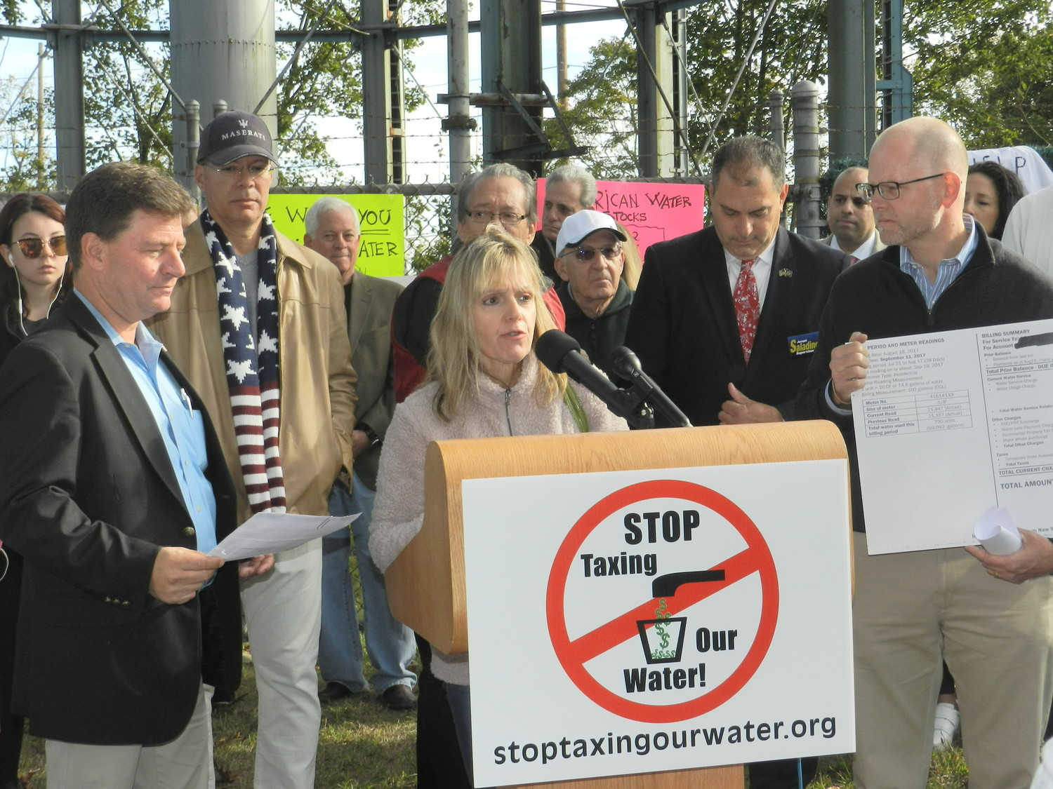 Community activist Agatha Nadel spoke at a water rally in November calling for state condemnation of NYAW.