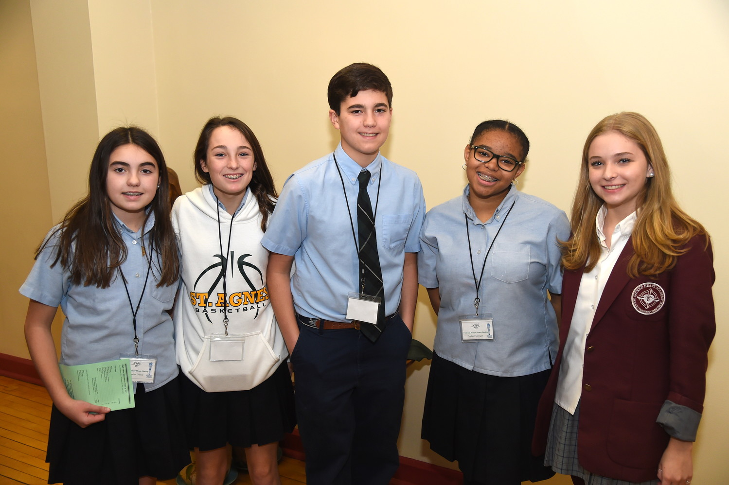 Catherine Garcia, left, Cate Bendowski, James Garcia, Malawi Springer and Abigail Story served as tour guides during St. Agnes Cathedral School's Open House on Jan. 28, which kicked off Catholic Schools Week.