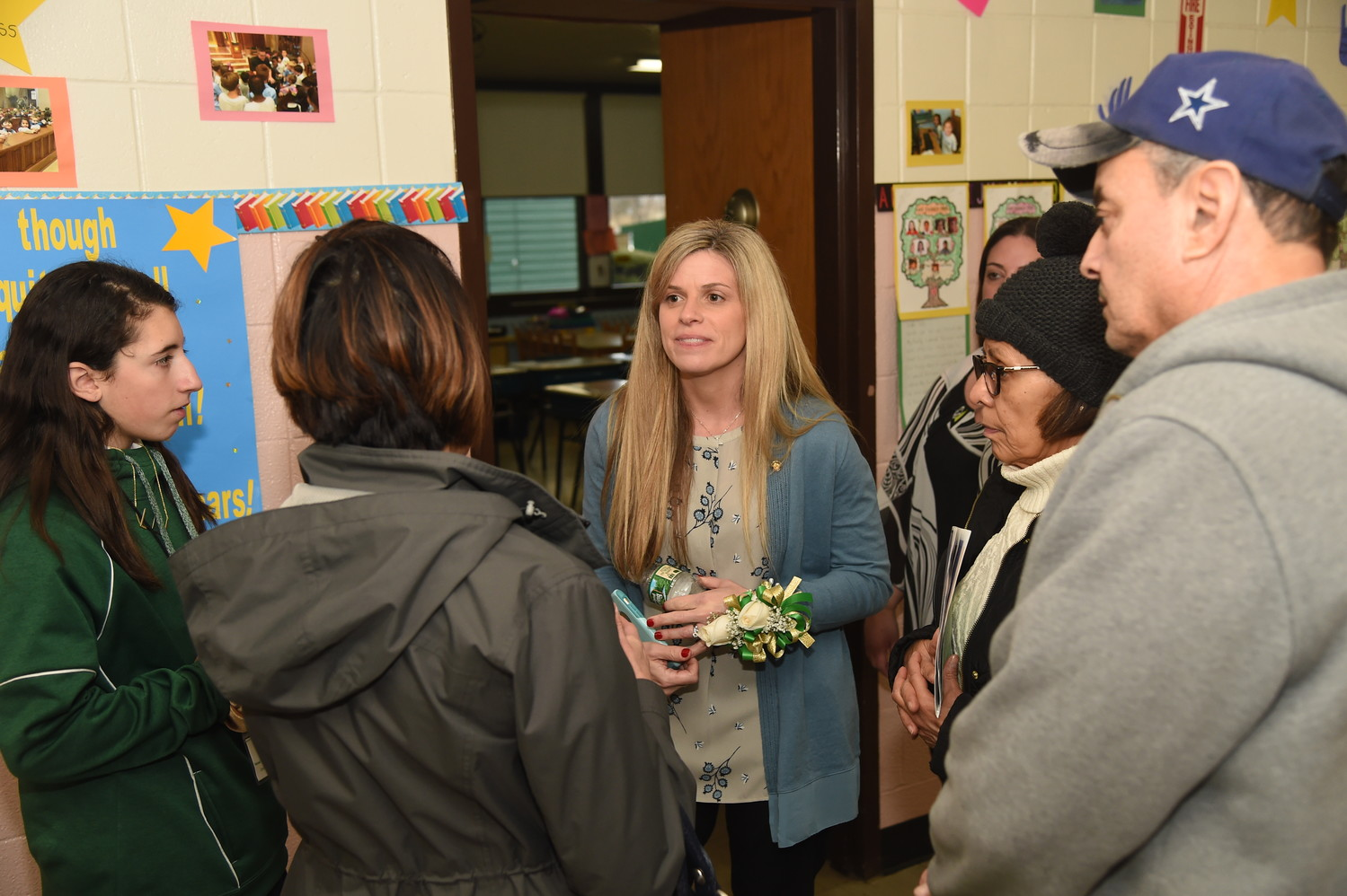 Guidance counselor Brooke Gorey conversed with parents.