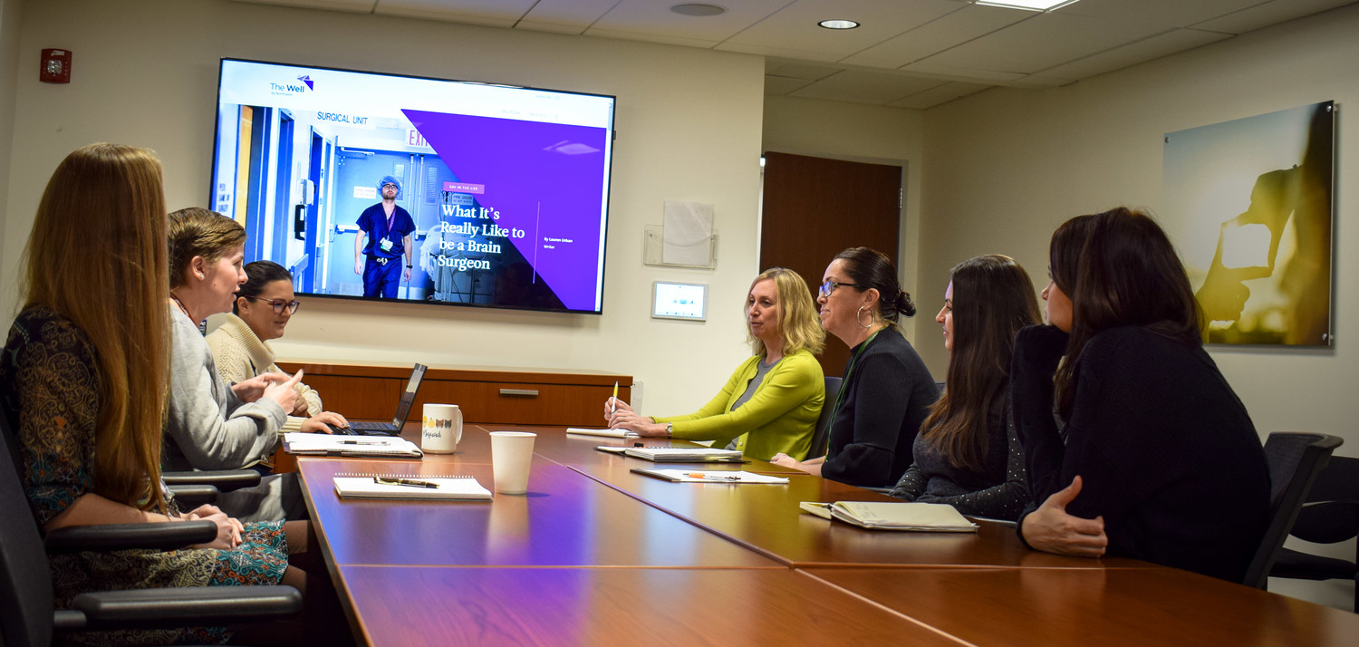 The team from Northwell Health worked over a year to create The Well. They include, clockwise, Julie Shapiro, Maureen Horn, Cristina Guarino, Christina Stolfo, Lauren Urban, Ashleigh Churchward, and Sarah DiBari. Gina Czark is not included in the photograph.