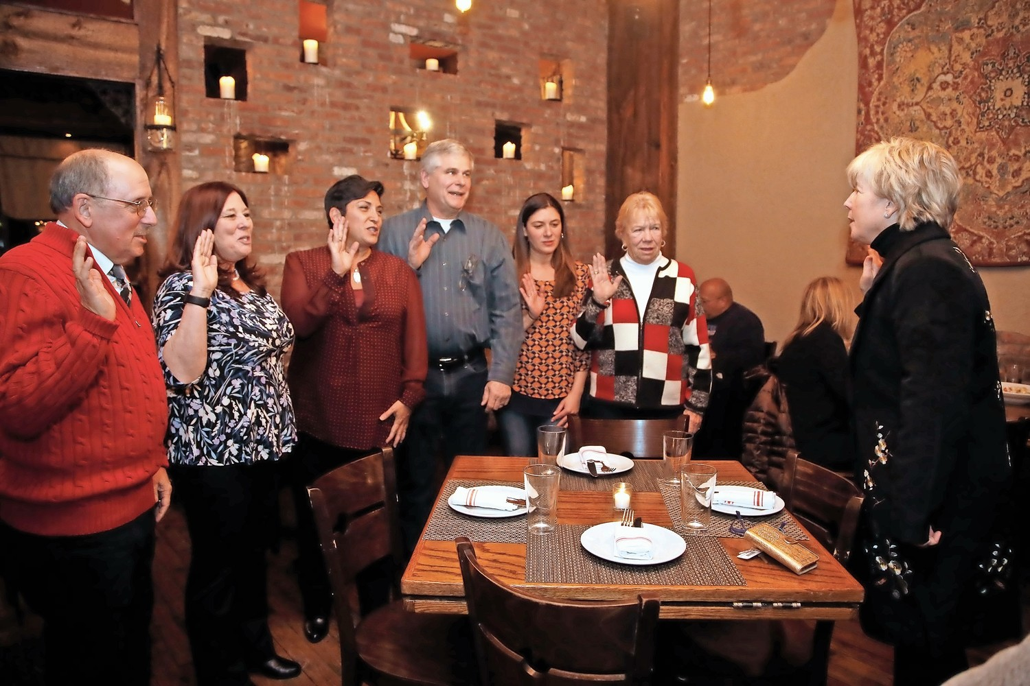 On Jan. 9, Mayor Patti McDonald swore in Malverne Chamber officers, Henry Stampfel, far left, Kathi Monroe, Maria Casini, Brian Monaghan, Jillian Hughes and Kathy Ribaudo.