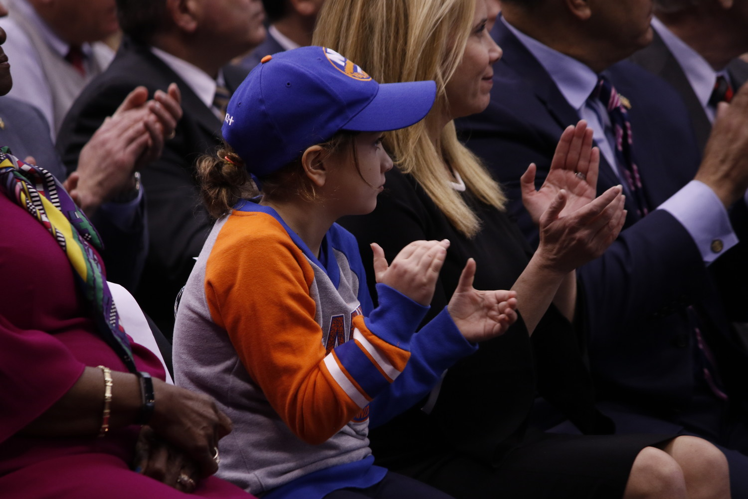 Hempstead Supervisor Laura Gillen attended with her daughter Austen Finnegan, 9, who said that she was excited to see the Islanders compete at the Coliseum.