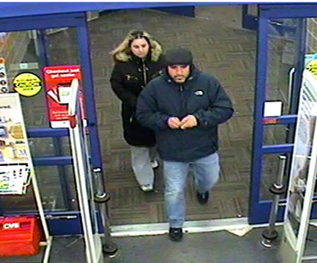 This man and woman are suspects in a string of car burglaries. They were seen entering CVS in Baldwin, where they allegedly used a credit card that they had stolen from a car parked in the lot behind Maple Avenue on Wednesday evening.