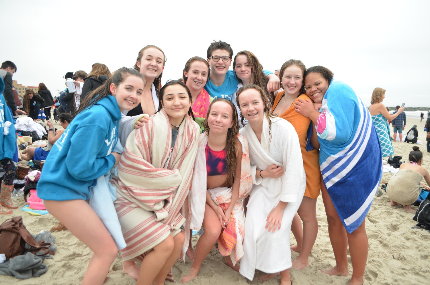 Long Beach residents Julianna Hurley, clockwise from left, Louise Dattolico, Gwen Price, Tori Price, Summer Roberts, Marandi Ficklin, Julia Meyers, Dylan Goldstein, Heather McAvoy and Holly McAvoy took the plunge on Sunday to support the Make-A-Wish Metro New York foundation.