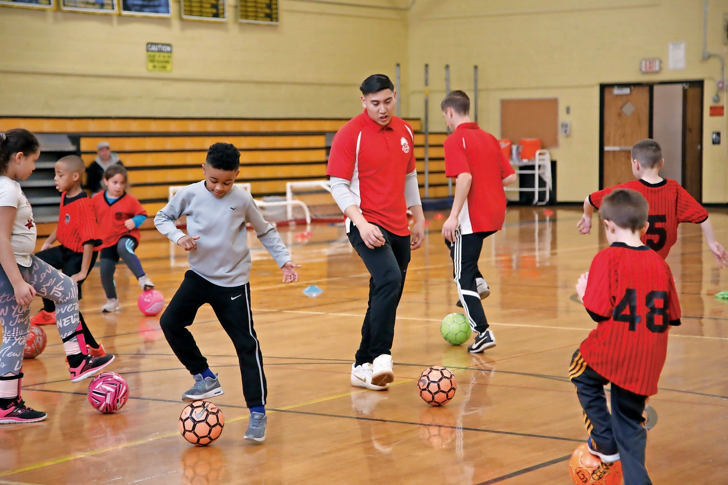 Children practice with the club two to three days each week to improve their skills.