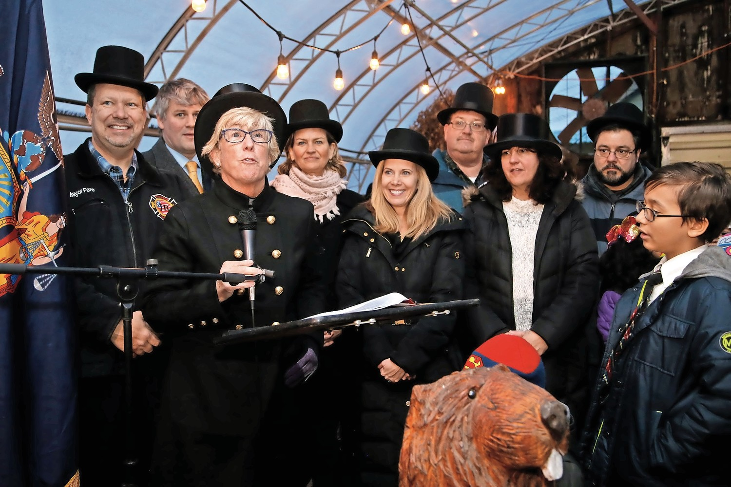Town and county officials gathered around Malverne Mayor Patti Ann McDonald for the village's 23rd annual Groundhog Day with Malverne Mel on Feb. 2.