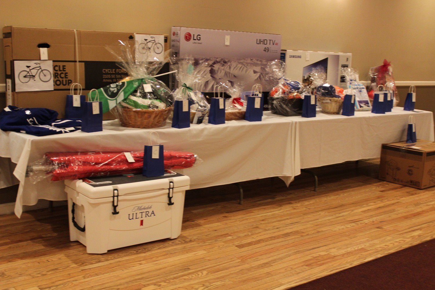 More than 70 gift baskets and other raffle prizes were donated by local businesses at the fundraiser.