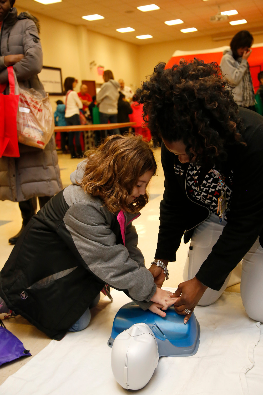 Third-grader Mia Lorello learned how to administer CPR.