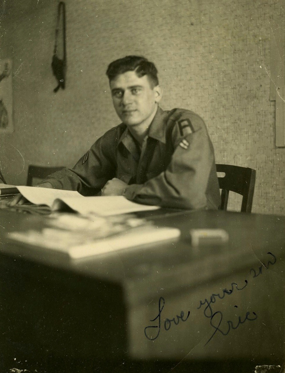 Eric Oppenheimer served with the 35th Signal Battalion under General Courtney Hicks Hodges in World War II.
