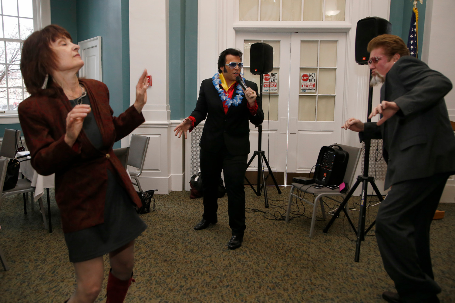 "Therese Sacaridiz and her husband Scott Hamlin hit the dancefloor during Elvis' performance of ""All Shook Up."""