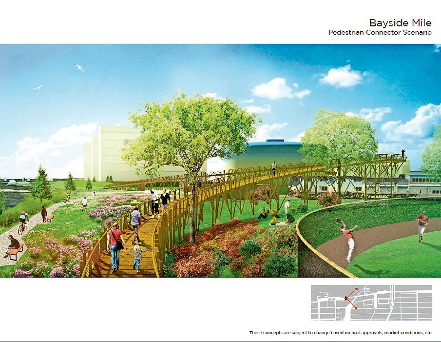 A rendering of a redeveloped bayfront, where residents would be able to walk, bike, shop and dine.