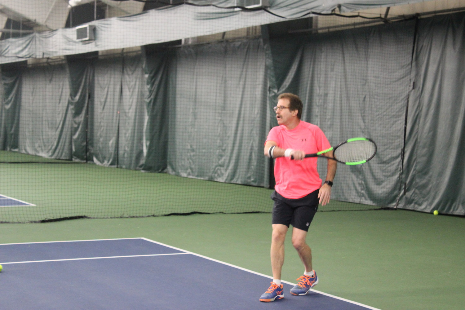 Steven Sussman travels from Roslyn for his routine practices with Ben Marks at Carefree Racquet Club.