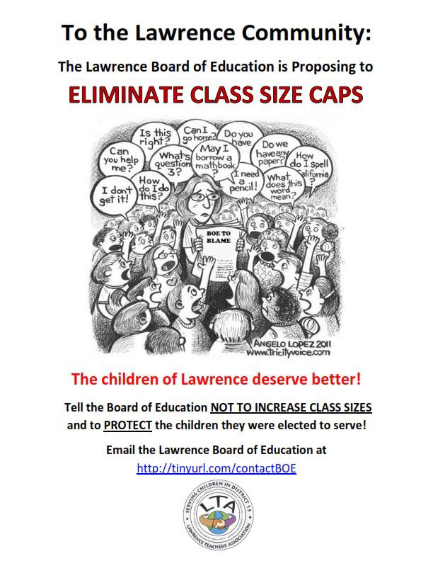 Class-size caps are a source of debate in the Lawrence School District.