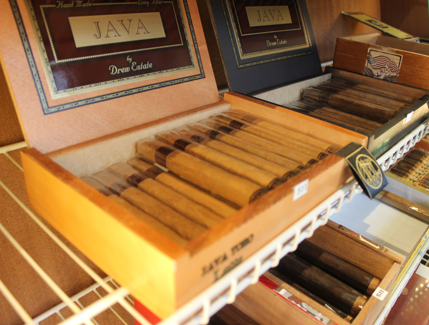 Customers can choose form a selection of brand-name and hand-rolled cigars.