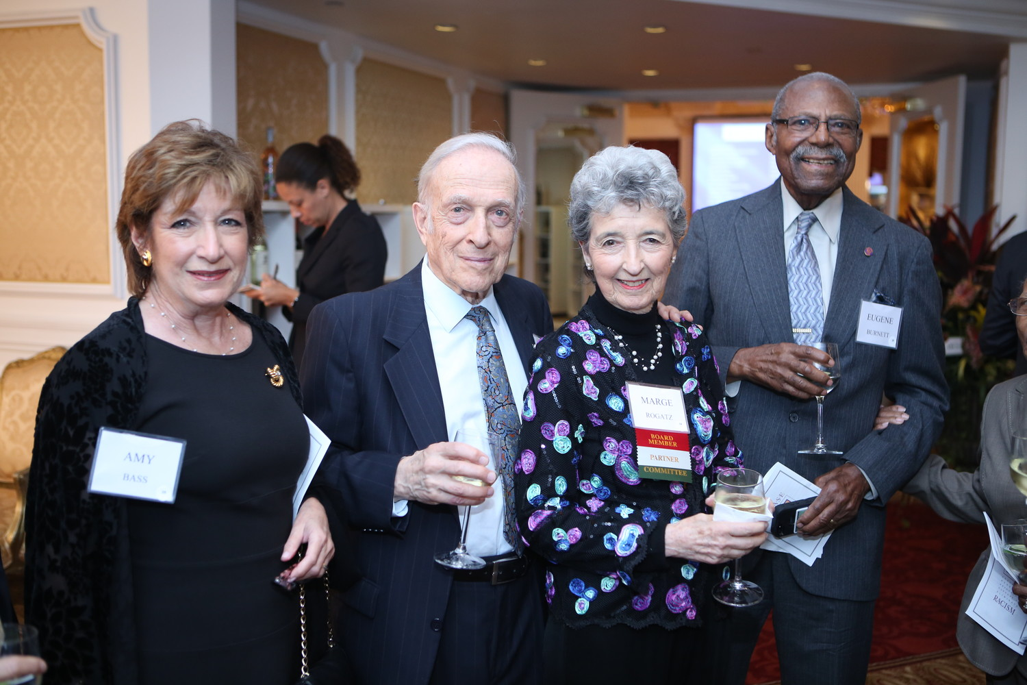 Marge Rogatz with her husband, Peter, center, at ERASE Racism's annual banquet last year.