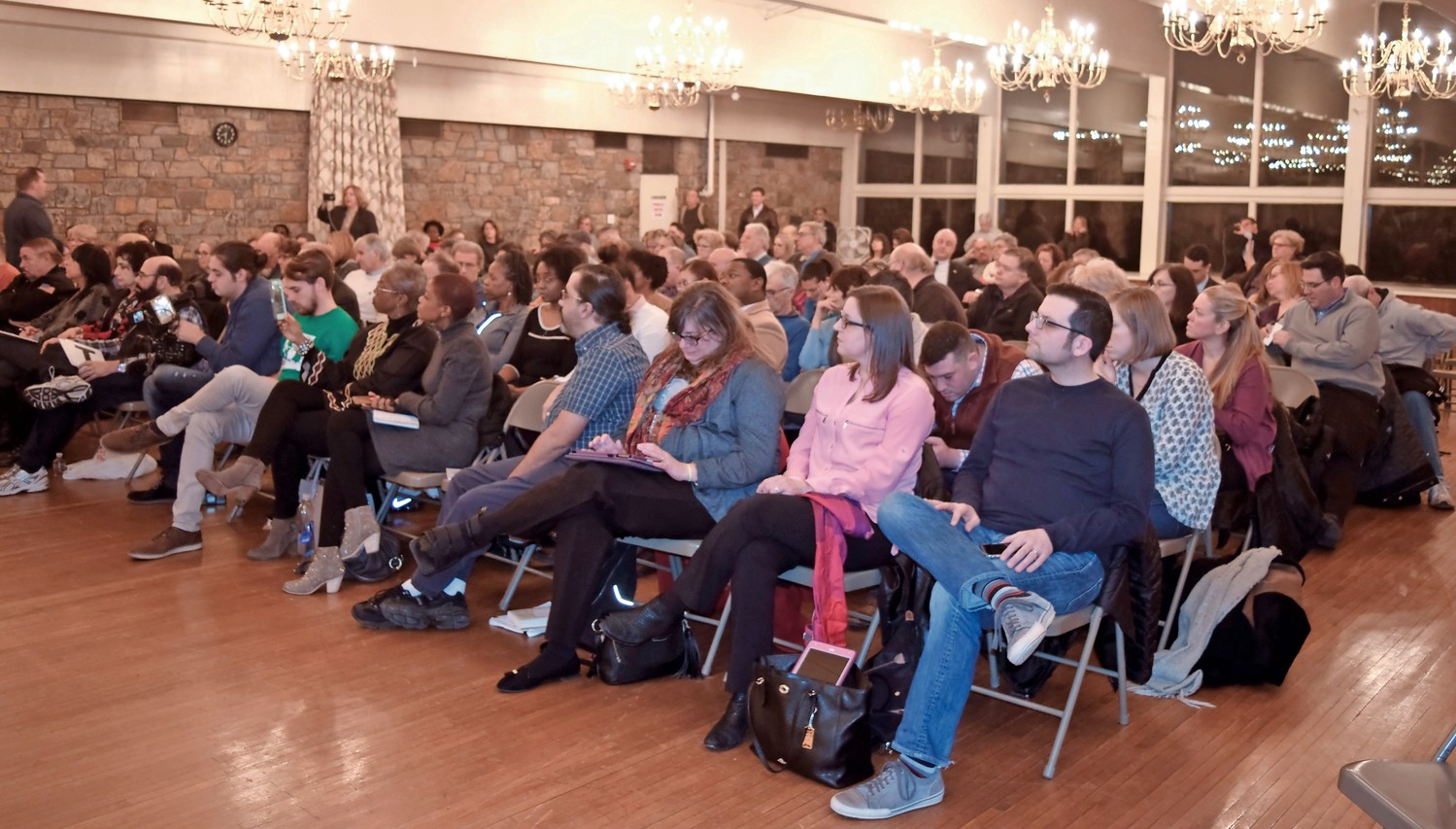 More than 60 people attended the forum at the Merrick Golf Course Clubhouse on Jan. 25.