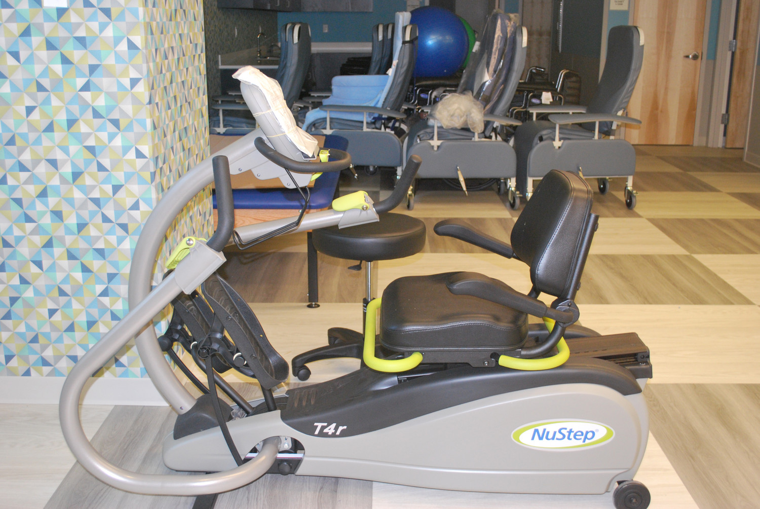 The new equipment in the physical fitness center was still being unwrapped at the end of the month.