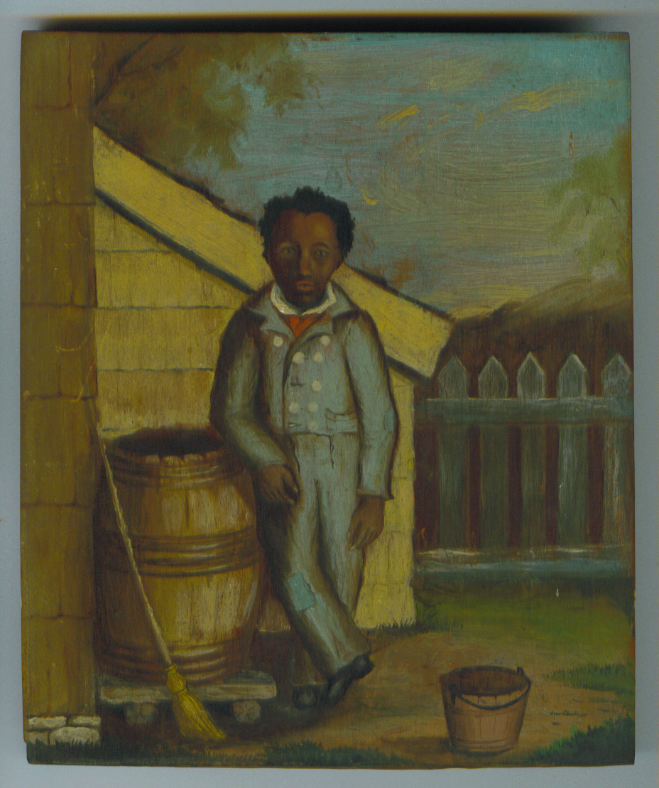 An oil painting on wood, by John Abeel Weekes, of former slave Caesar Foster, born  in 1795, from the collection of Raynham Hall Museum. This portrait is the only known image of an Oyster Bay resident who was a former slave. During Colonial times, recently discovered documents indicate 16 percent of Oyster Bay residents were African-American.