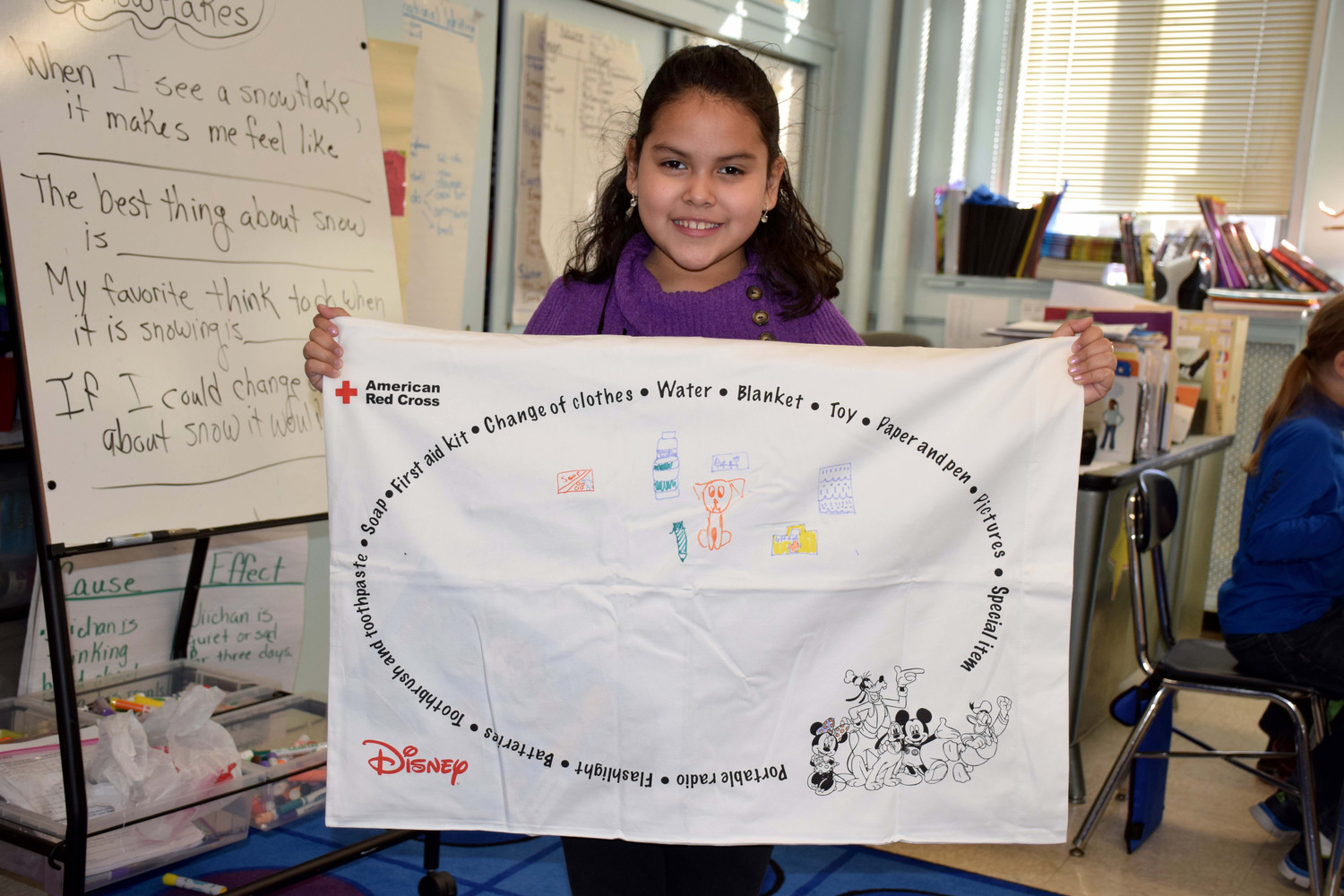 Abigail Cuadráchalen showed off her decorated emergency preparedness pillowcase.