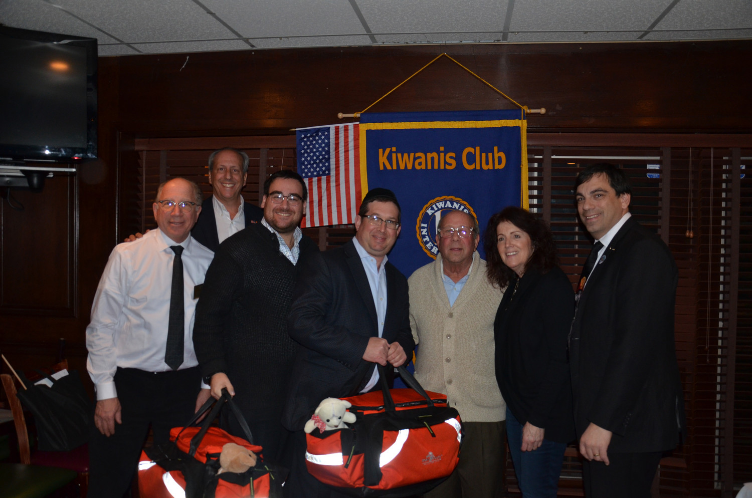 Five Towns Kiwanis  donated two pediatric trauma kits to Hatzalah. From left Dr. Fred Seltzer, Kiwanis President Tom Cohen, Scott Orlanski, Meir Krengel, Barry and Marcia Ringelheim, and Kiwanis Lt. Gov. Tom Cessiro III.