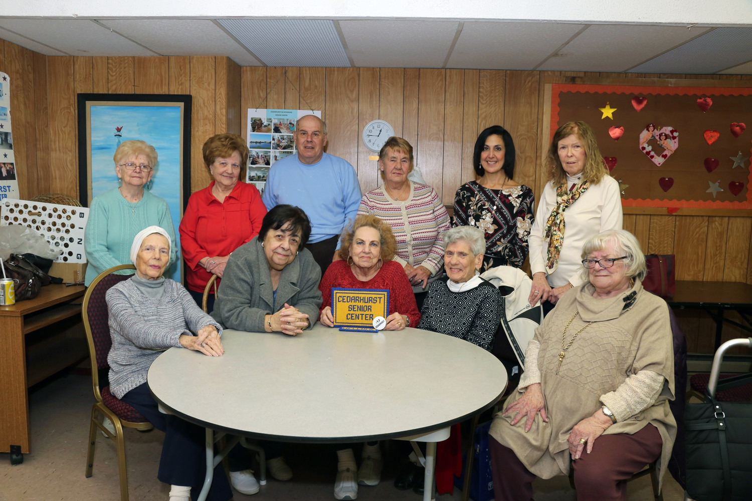 Cedarhurst Senior Center members were visited by Town of Hempstead Clerk Sylvia Cabana last month. Seated from left were Marge Goldman, Rose Perrino, Gladys Mauro. Jenny Zarro and Caroline Sterlacci. Standing from left were Gloria Napolitano, Helen O'Brien, Robert Elio, Ida Venezio, Cabana and Mallazzo.