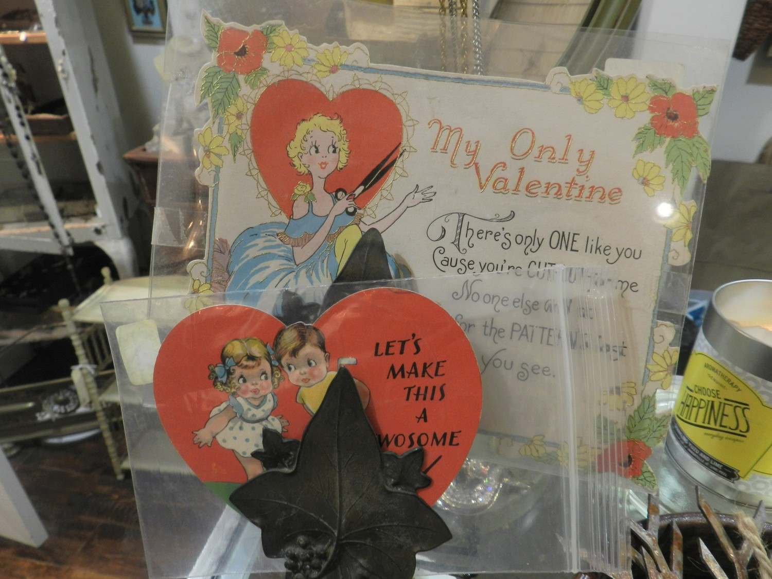 Instead of shopping at Hallmark, pick up a vintage card for your special valentine at Village Green Antiques.