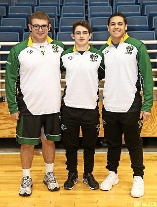 Lynbrook's All-County trio, from left, Matt Renz (fifth place, 285 pounds), Tyler Heaney (fifth at 138) and Tommy Urena (fifth at 182) led the Owls at last weekend's Nassau championships.