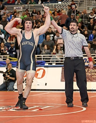 Wantagh senior James Langan won a thrilling 13-11 overtime decision over Kennedy's Jack Krug in the Nassau Division I 182-pound final last Sunday night at Hofstra.