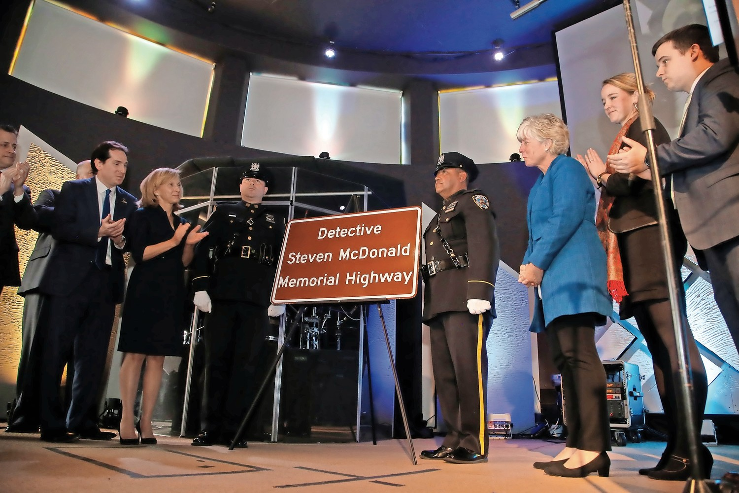 State officials and members of the NYPD unveiled a highway sign in honor of NYPD Detective Steven McDonald on Feb. 9.