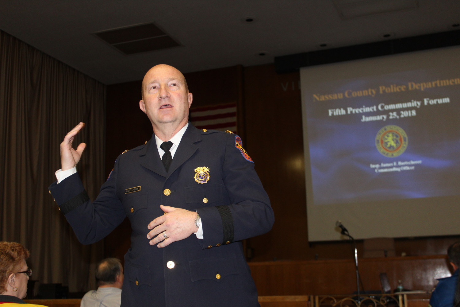 Inspector Jim Bartscherer spoke to a crowd of more than 20 Fifth Precinct residents about crime rates in the area on Jan. 25.