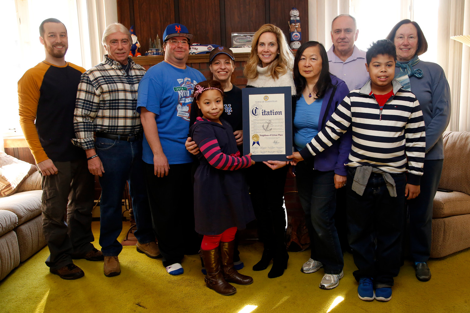 Town Supervisor Laura Gillen presented a citation to Sylvan Place neighbors.