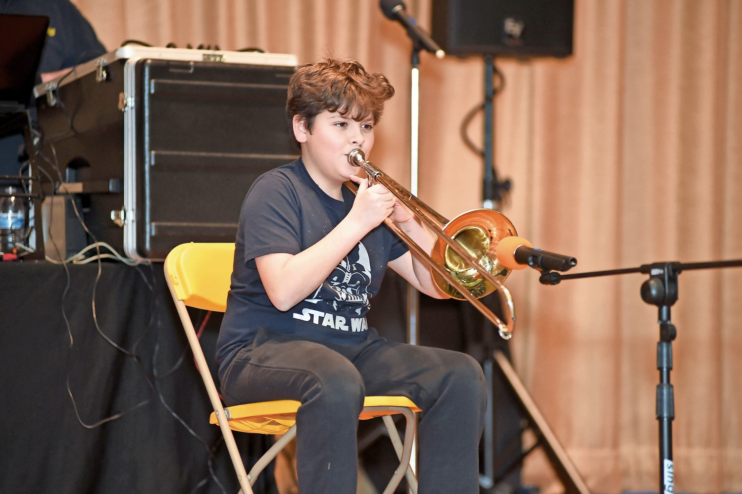 "Trombonist Sergio Escalante played the ""Star Wars"" theme."