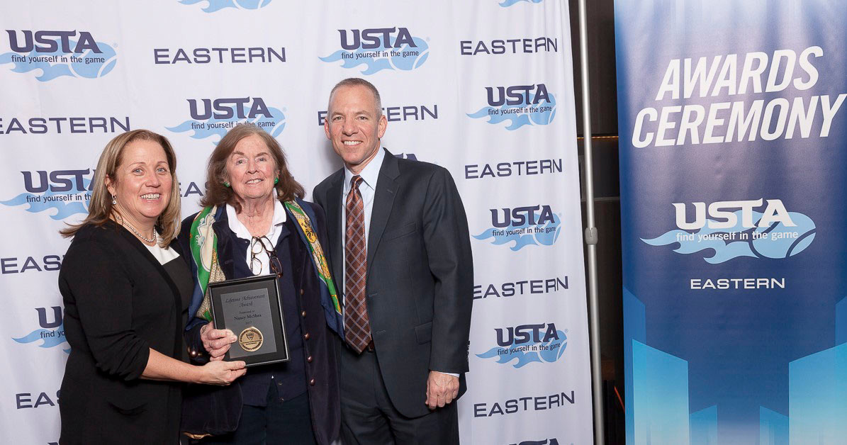 Longtime Rockville Centre resident Nancy Gill McShea, center, alongside Dave Goodman and Jenny Schnitzer, was honored with the Eastern Tennis Lifetime Achievement Award on Jan. 27.