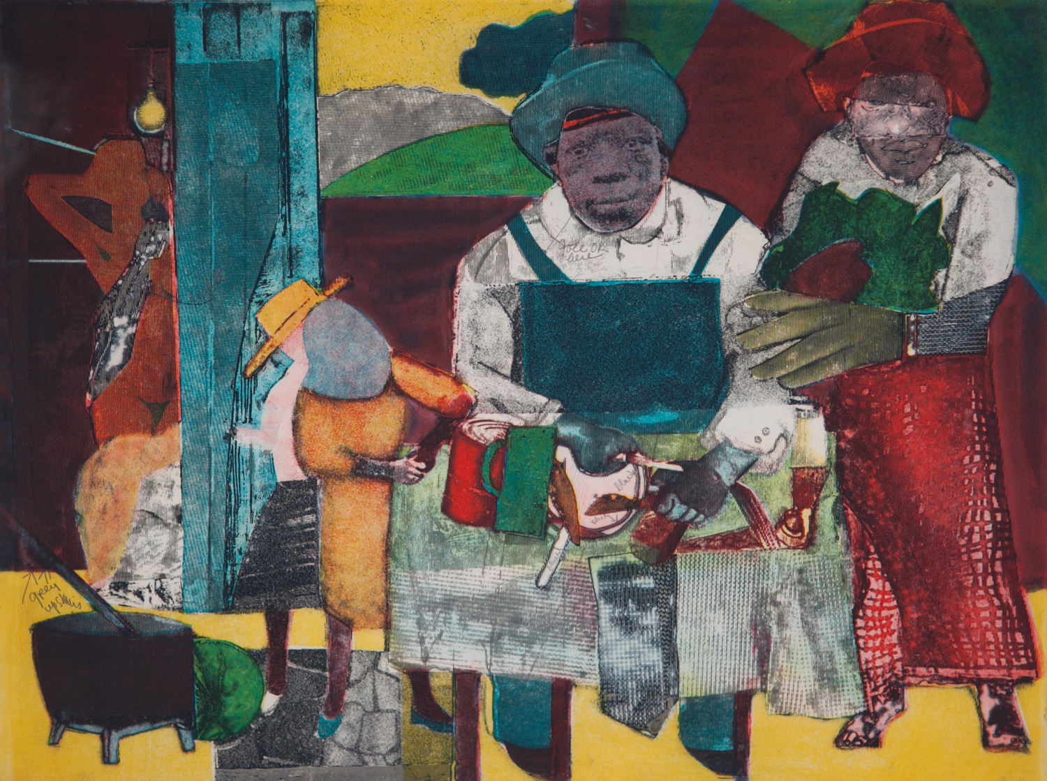 "Romare Bearden's print, ""The Family,"" 1975, typifies the subject matter that made him famous: the work depicts an average African-American family preparing for a meal."